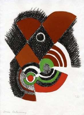 """""""Juste Présent"""" de Tristan Tzara planche 7 (Eau-forte et aquatinte) - Sonia DELAUNAY-TERK"""