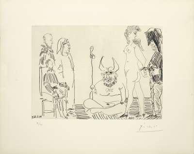 Le cocu assistant à la comparution devant l'inquisition d'une femme nue enchaînée par un bourreau (Eau-forte) - Pablo  PICASSO
