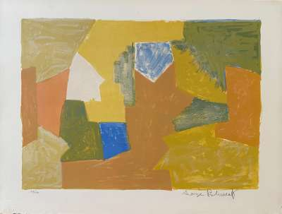 Composition jaune, Orange et Verte L14 (Lithographie) - Serge  POLIAKOFF