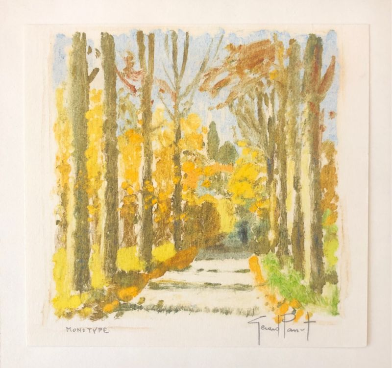 Gérard PANET / Allée bordée d'arbres (Carte de voeux) -  Artistes Divers