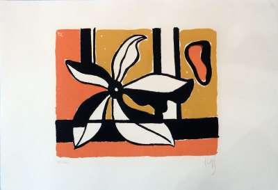Fleur sur fond orange et jaune (Sérigraphie) - Fernand LEGER