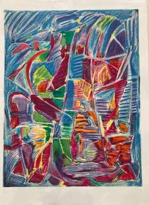 Composition fond bleu (Lithograph) - André LANSKOY