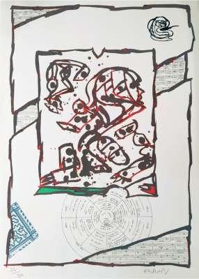 Chutes et panaches, avec extraits de partitions labyrinthiques de Jean-Yves Bosseur (Lithographie) - Pierre ALECHINSKY