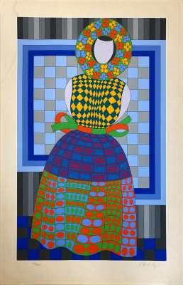 Fille Fleur (Sérigraphie) - Victor  VASARELY