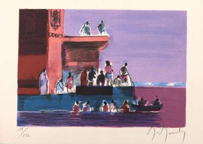Bathing in the Ganges (Greetings card) - Marcel MOULY