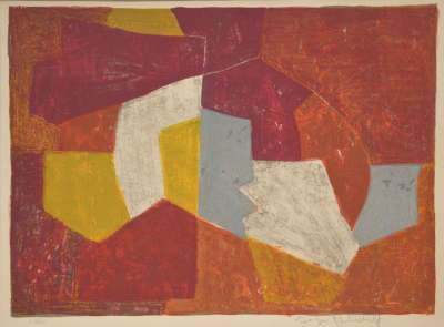 Composition Carmin, brune, jaune et grise n°11 (Farblithographie) - Serge  POLIAKOFF