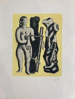 Woman on yellow background (Lithograph) - Fernand LEGER