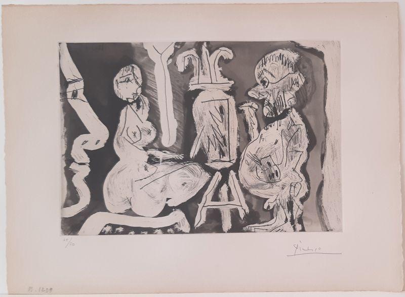 Peintre et modèle avec spectateur (Eau-forte) - Pablo  PICASSO