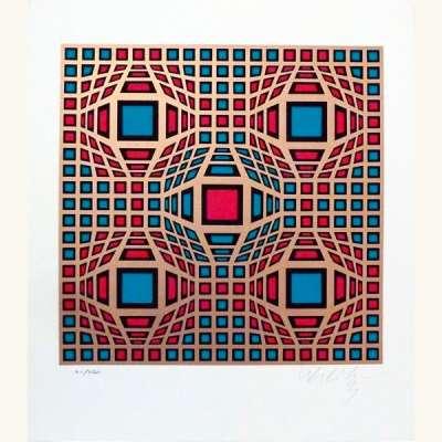 Composition cinétique en rouge et vert (Sérigraphie) - Victor  VASARELY