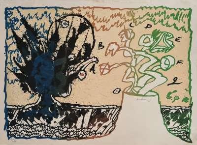 Volcan alphabétique (Lithograph) - Pierre ALECHINSKY