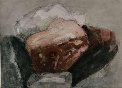 Rochers (Huile sur papier (contemporain)) - Véronique NEROU