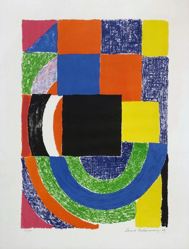 Carreau noir (Lithographie) - Sonia DELAUNAY-TERK
