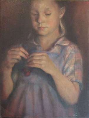 La fille de las cerises (Oil on canvas) - Dolores  CAPDEVILA