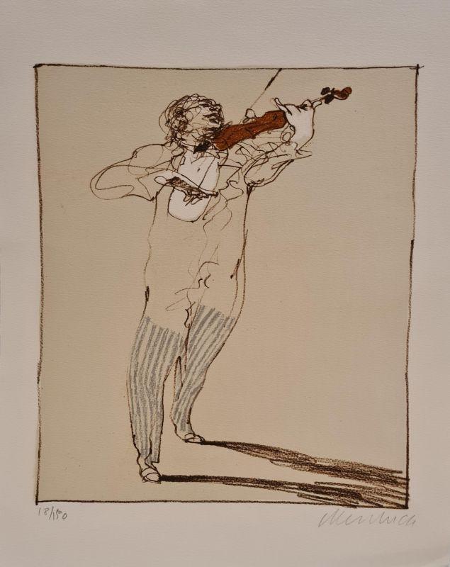 Petit violoniste (Lithographie) - Claude WEISBUCH