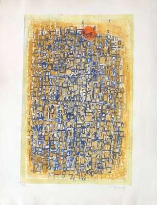 Composition sur fond jaune (Etching and aquatint) - Roger BISSIERE