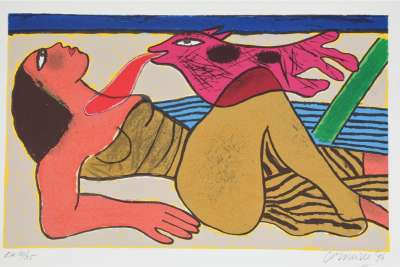 Le baiser (Lithographie) - Guillaume CORNEILLE