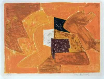 Composition orange (Lithographie) - Serge  POLIAKOFF