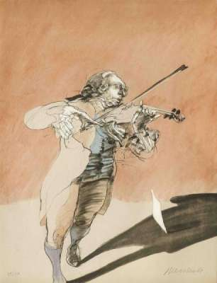 Le violoniste (Lithographie) - Claude WEISBUCH