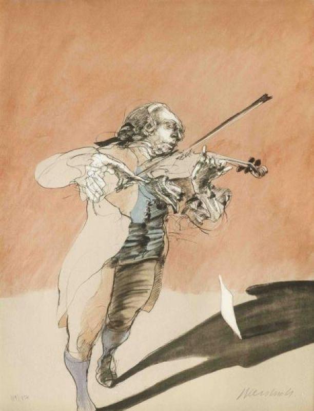 Le violoniste (Lithographie) - Claude WEISBUCH