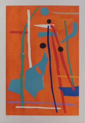 Composition sur fond orange (Lithographie) - André LANSKOY