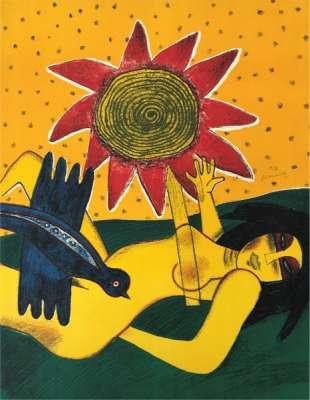 La fleur rouge (Lithographie) - Guillaume CORNEILLE