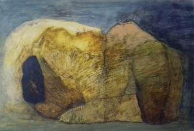Falaise (Huile sur papier) - Véronique NEROU