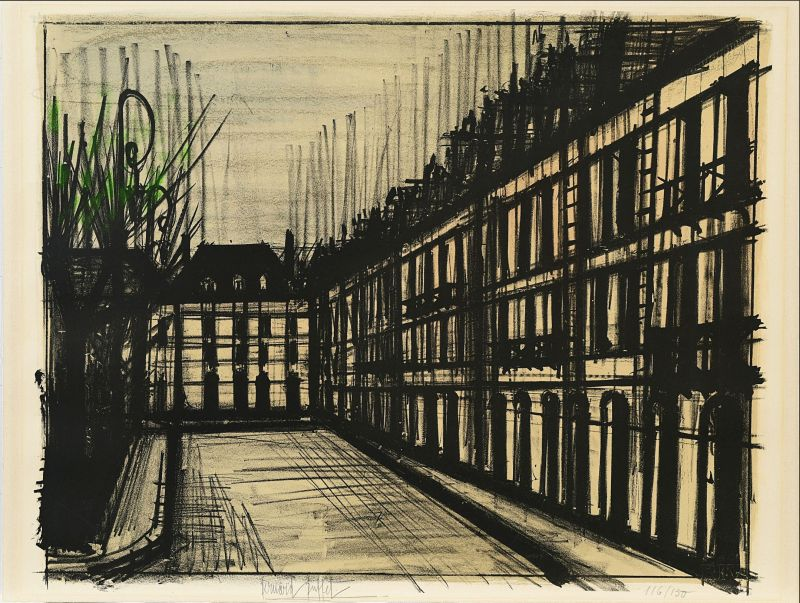 La Place des Vosges (Lithographie) - Bernard BUFFET