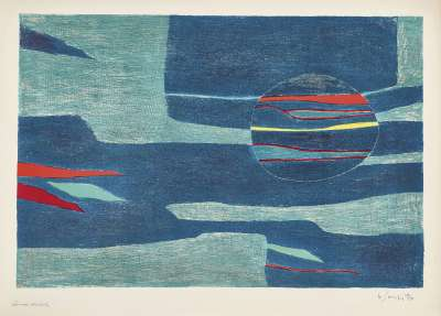 Provence : soleil, mer froide (Lithograph) - Gustave  SINGIER