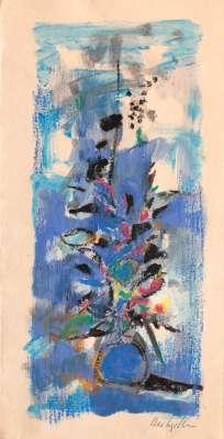 Paul REBEYROLLE / Blue bouquet (Lithograph) -  Artistes Divers