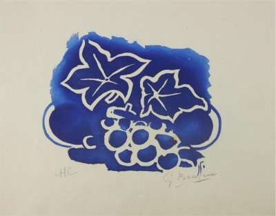 Leaves and grapes (Aquatint) - Georges BRAQUE