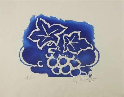 Feuille et raisin (Aquatint) - Georges BRAQUE