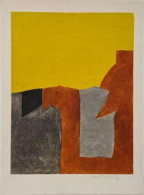 Composition gray, brown and yellow  IX (Etching and aquatint) - Serge  POLIAKOFF