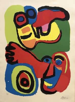 Seeing eyes (Farblithographie) - Karel APPEL
