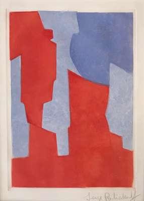 Composition rouge et bleue N° XX (Eau-forte et aquatinte) - Serge  POLIAKOFF