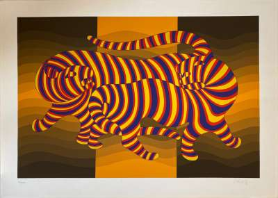 Two tigers on gold (Serigraph) - Victor  VASARELY