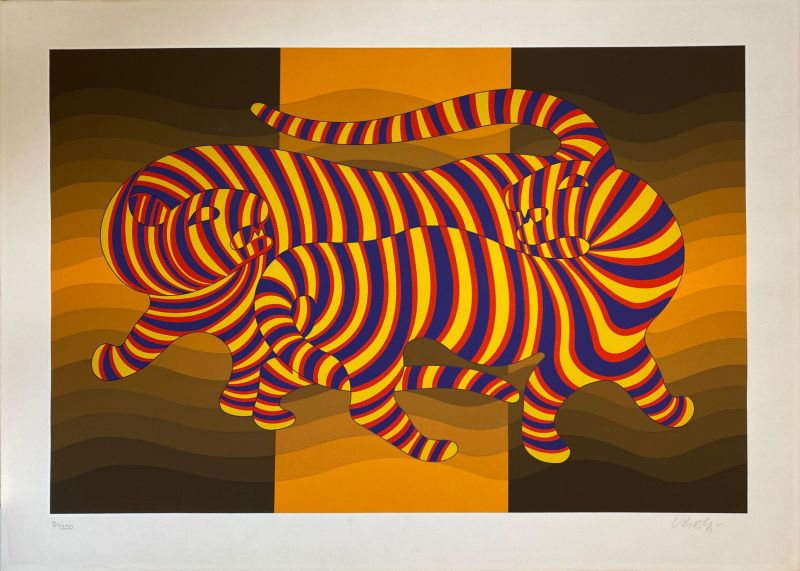 Two tigers on gold (Sérigraphie) - Victor  VASARELY