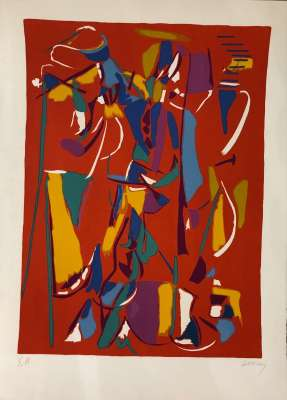 Red background composition (Lithograph) - André LANSKOY