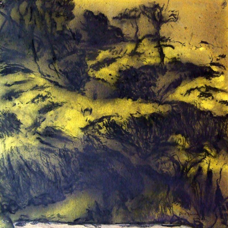 Colline jaune I (Fusain) - Jean-Jacques  DOURNON