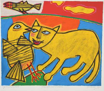 Jeux entre chat et oiseau (Lithographie) - Guillaume CORNEILLE