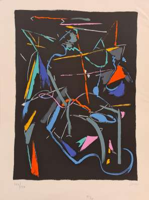 Composition on black background (Lithograph) - André LANSKOY