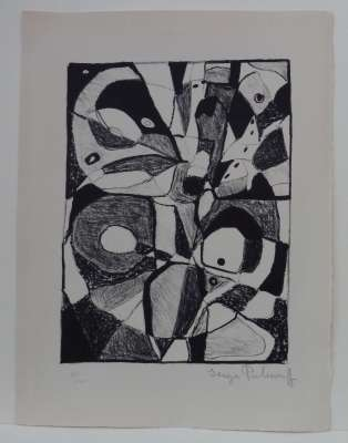 Lithographie en noir (Lithograph) - Serge  POLIAKOFF