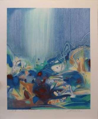 Tout coude (Lithographie) - Teh-Chun CHU