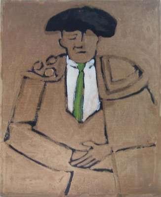 Matador vert (Huile sur papier) - Alexis  POLIAKOFF