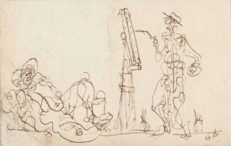 Le peintre et son modèle (Dessin) - Georges BRAQUE
