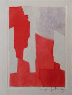 Composition rouge et bleue EF XX (Eau-forte et aquatinte) - Serge  POLIAKOFF