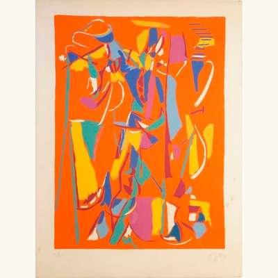 Composition sur fond rouge (Lithographie) - André LANSKOY