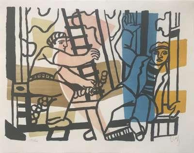 Les constructeurs (Lithographie) - Fernand LEGER