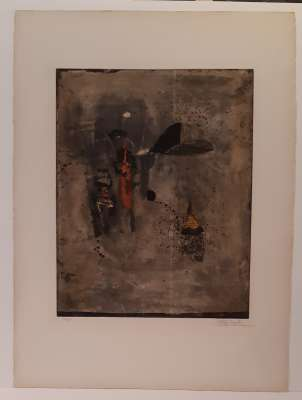 Composition with black dot (Etching) - Johnny FRIEDLAENDER