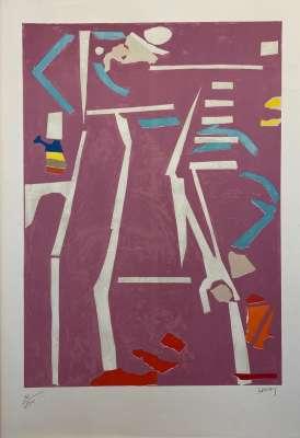 Composition sur fond rose (Lithograph) - André LANSKOY