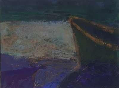 Barque verte Inde (Huile sur papier) -  MAUPUR